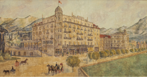 Painting of Hotel International au Lac Lugano