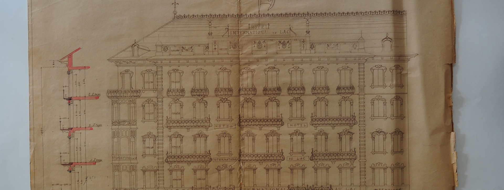 Historic building drawing of the International au Lac Historic Lakeside Hotel