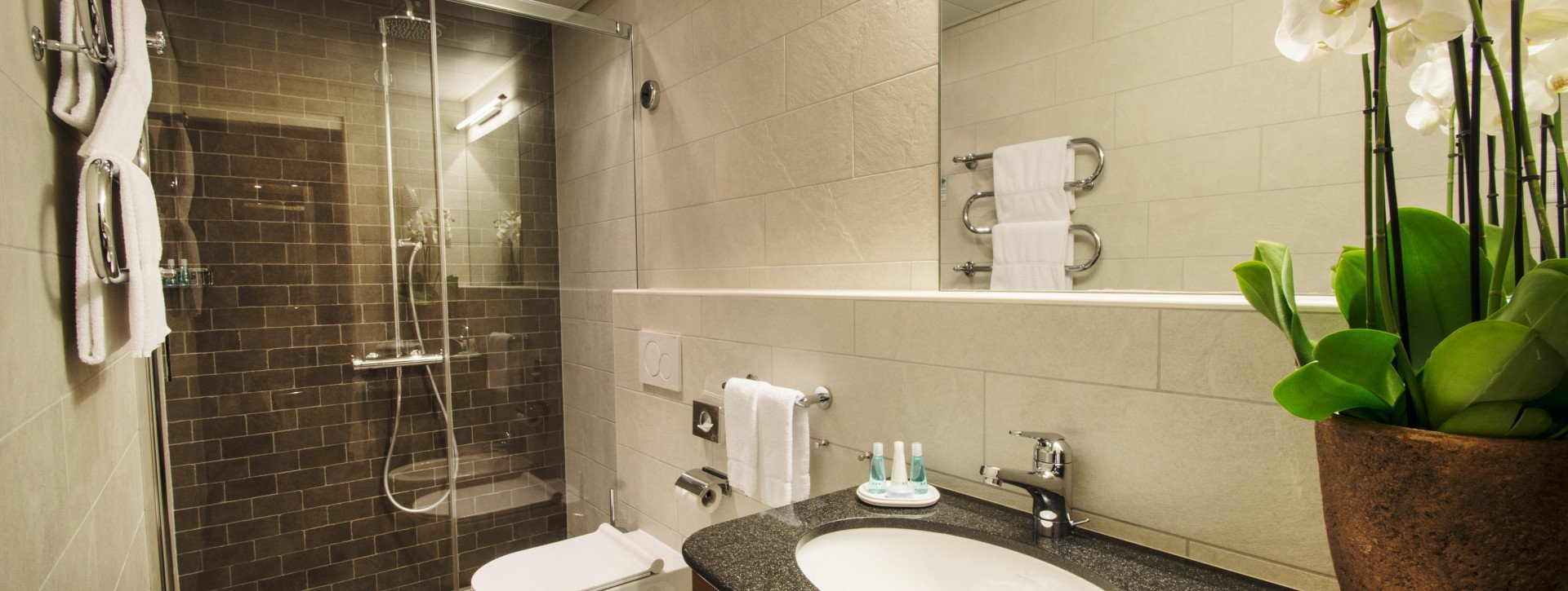 Bathroom with large mirror and shower