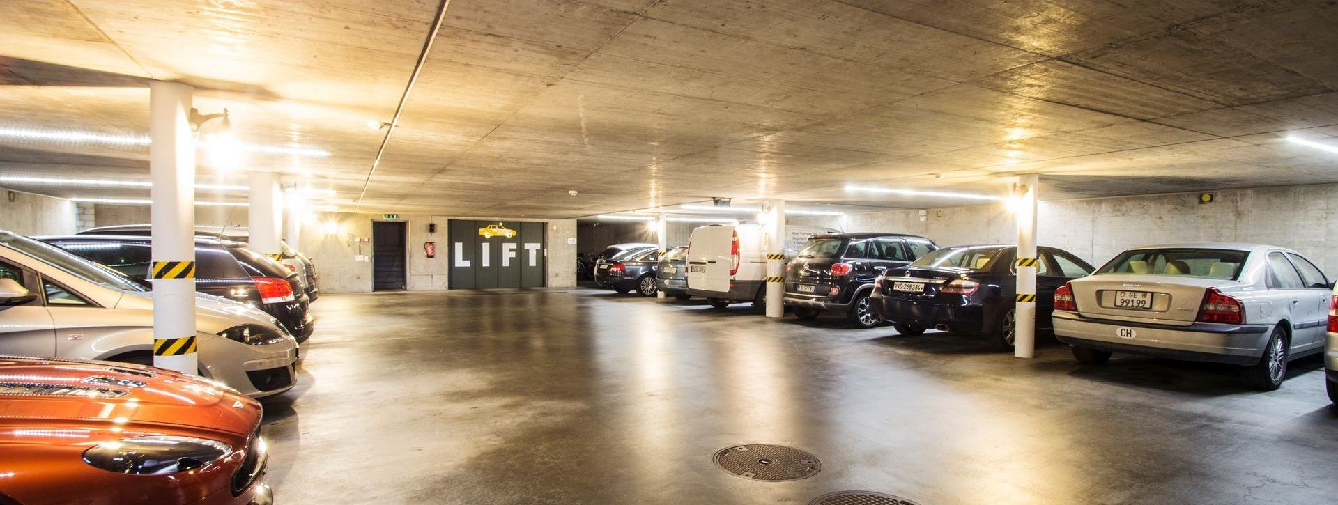 Cars in the hotels underground car park