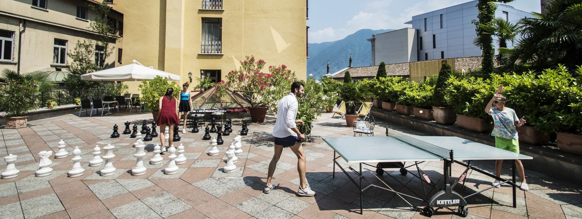 Terrace with ping pong and street chess