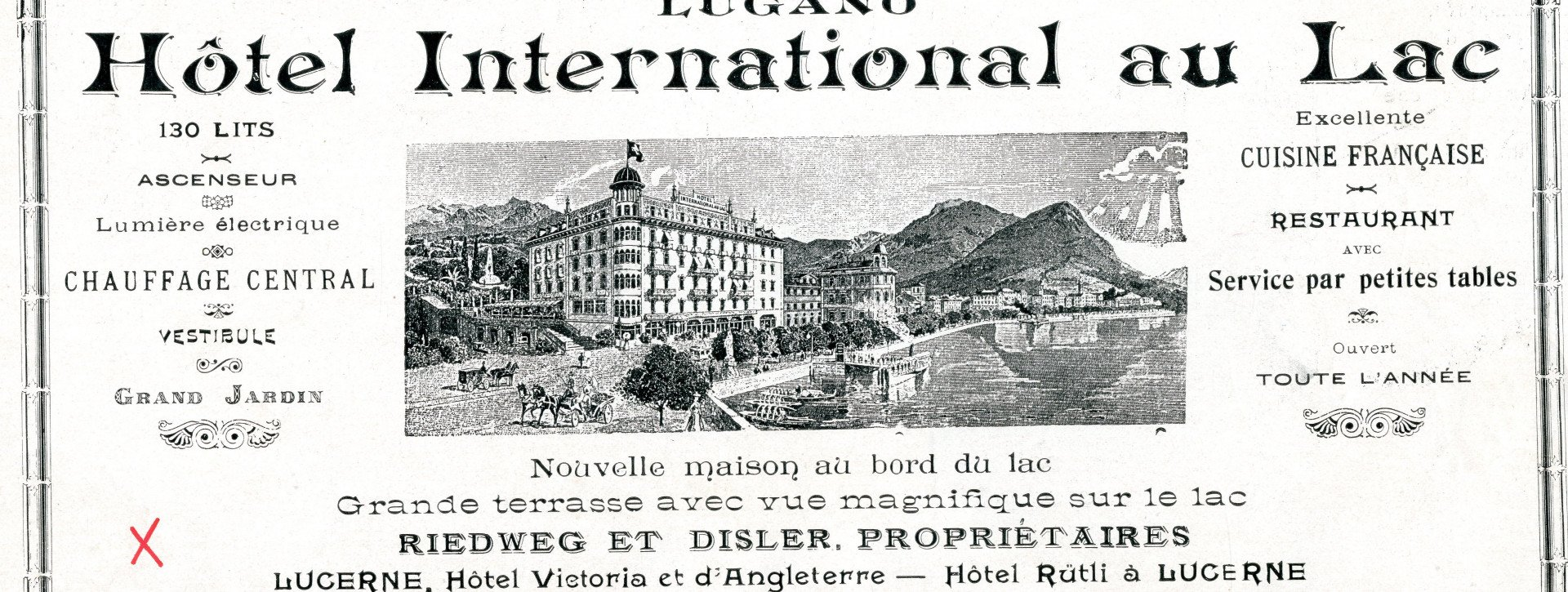 Old newspaper article of the International au Lac Historic Lakeside Hotel